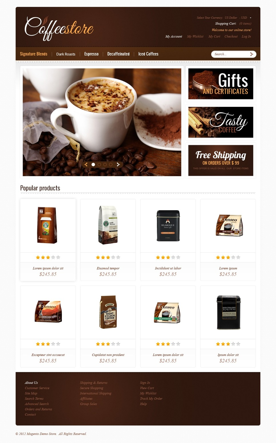 Luxurious Strong Coffee Magento Theme