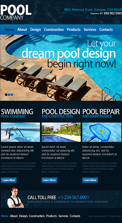Pool cleaning responsive website template web design for Pool design website