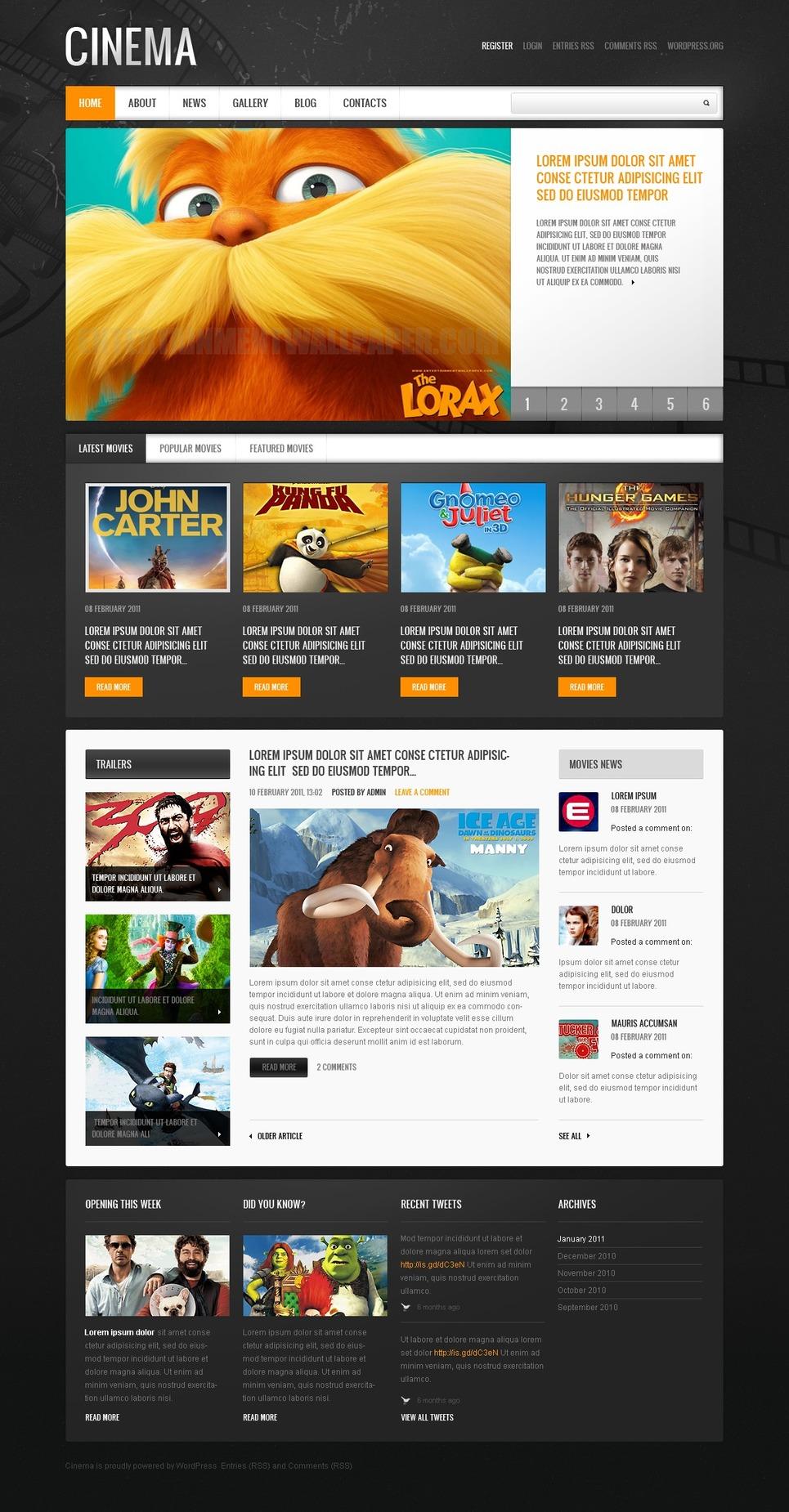Movie WordPress Theme New Screenshots BIG