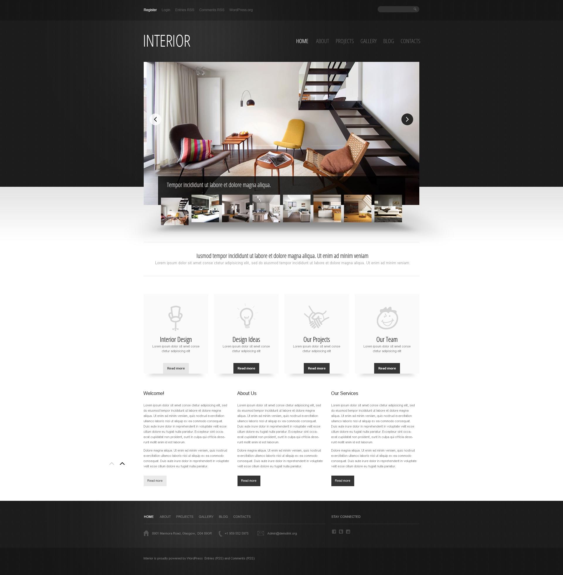 Modello wordpress per un sito di design di interni for Siti design interni