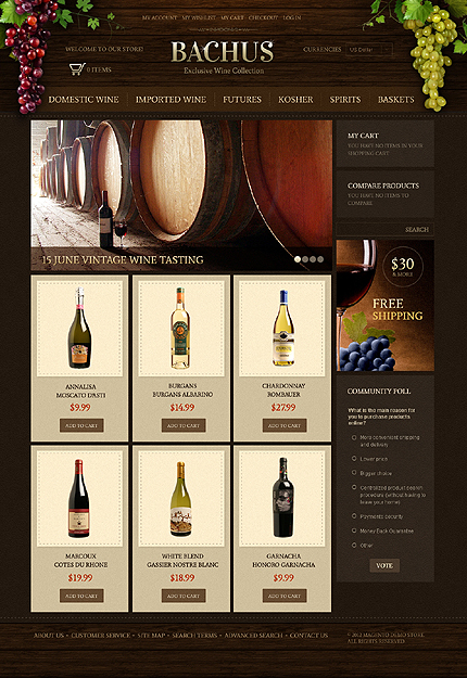 Bachus - Wonderful wine collection Online Magento Theme