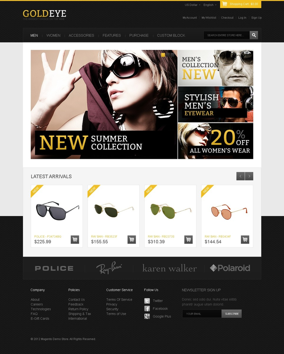 Top Sunglasses Magento Theme New Screenshots BIG
