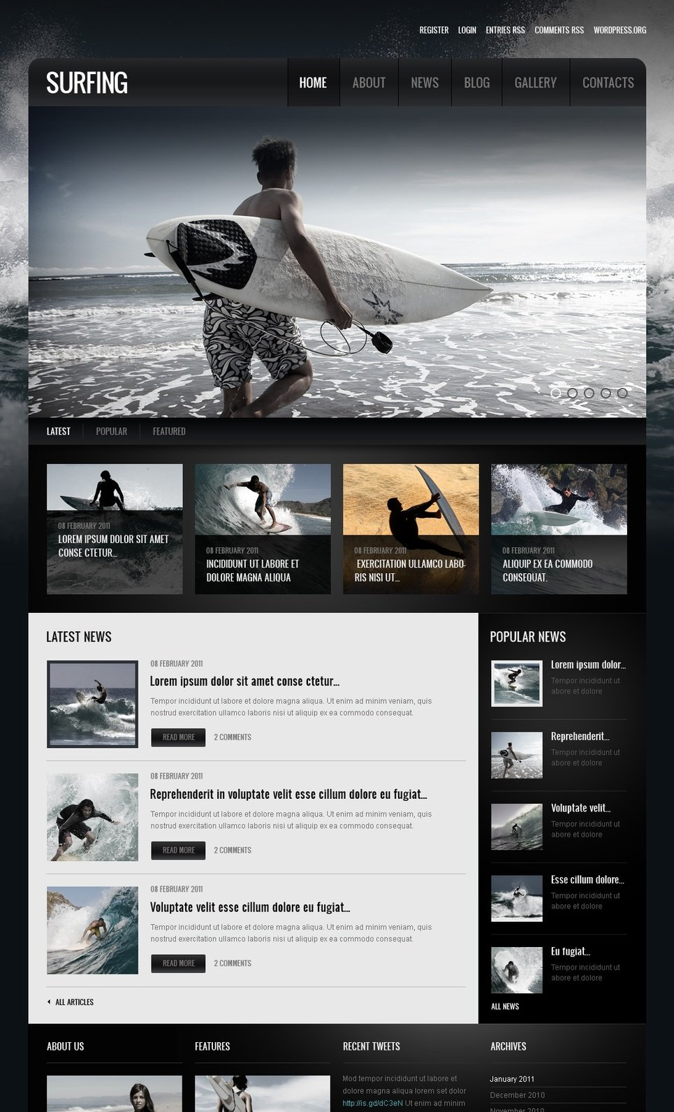 Surfing Moto CMS HTML Template New Screenshots BIG
