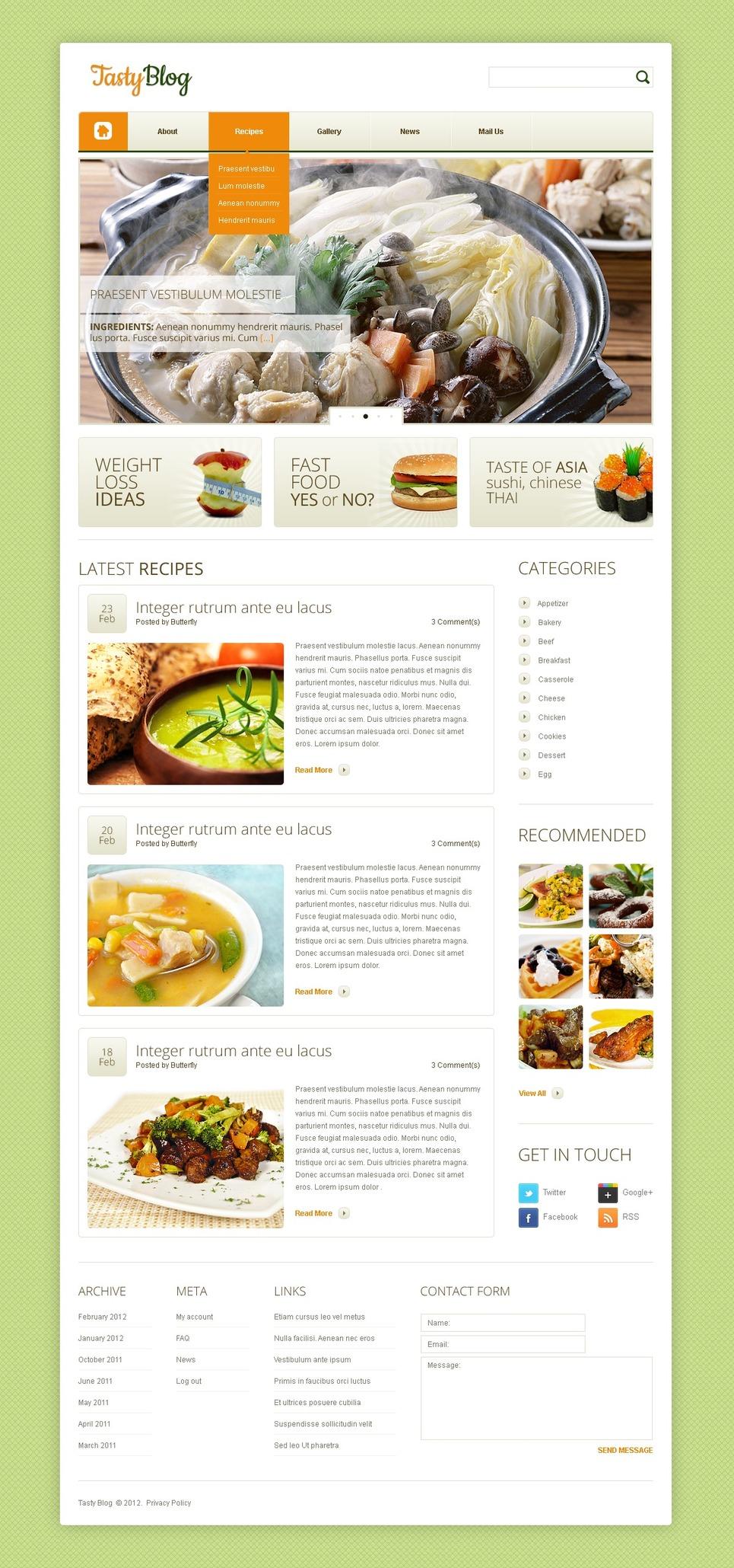 Cooking WordPress Theme New Screenshots BIG