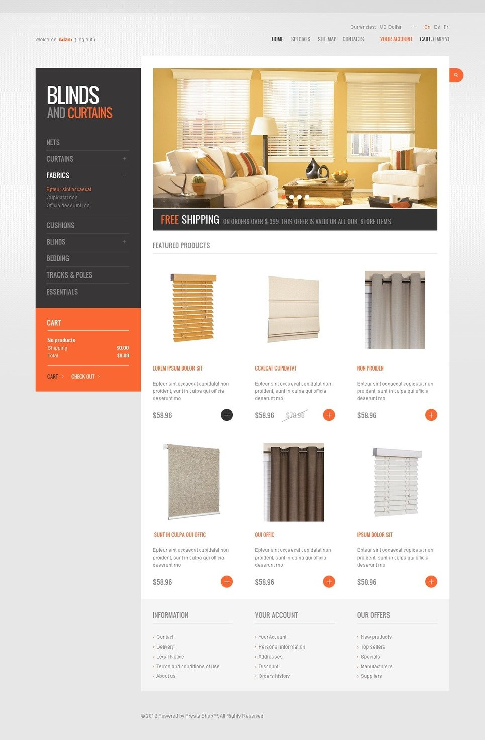 Cozy Blinds & Curtains PrestaShop Theme