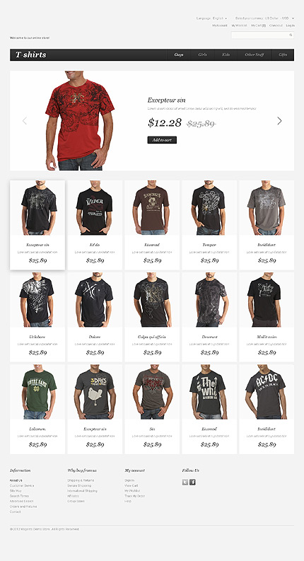 T-shirt stores - Dignified T-shirts Magento Theme