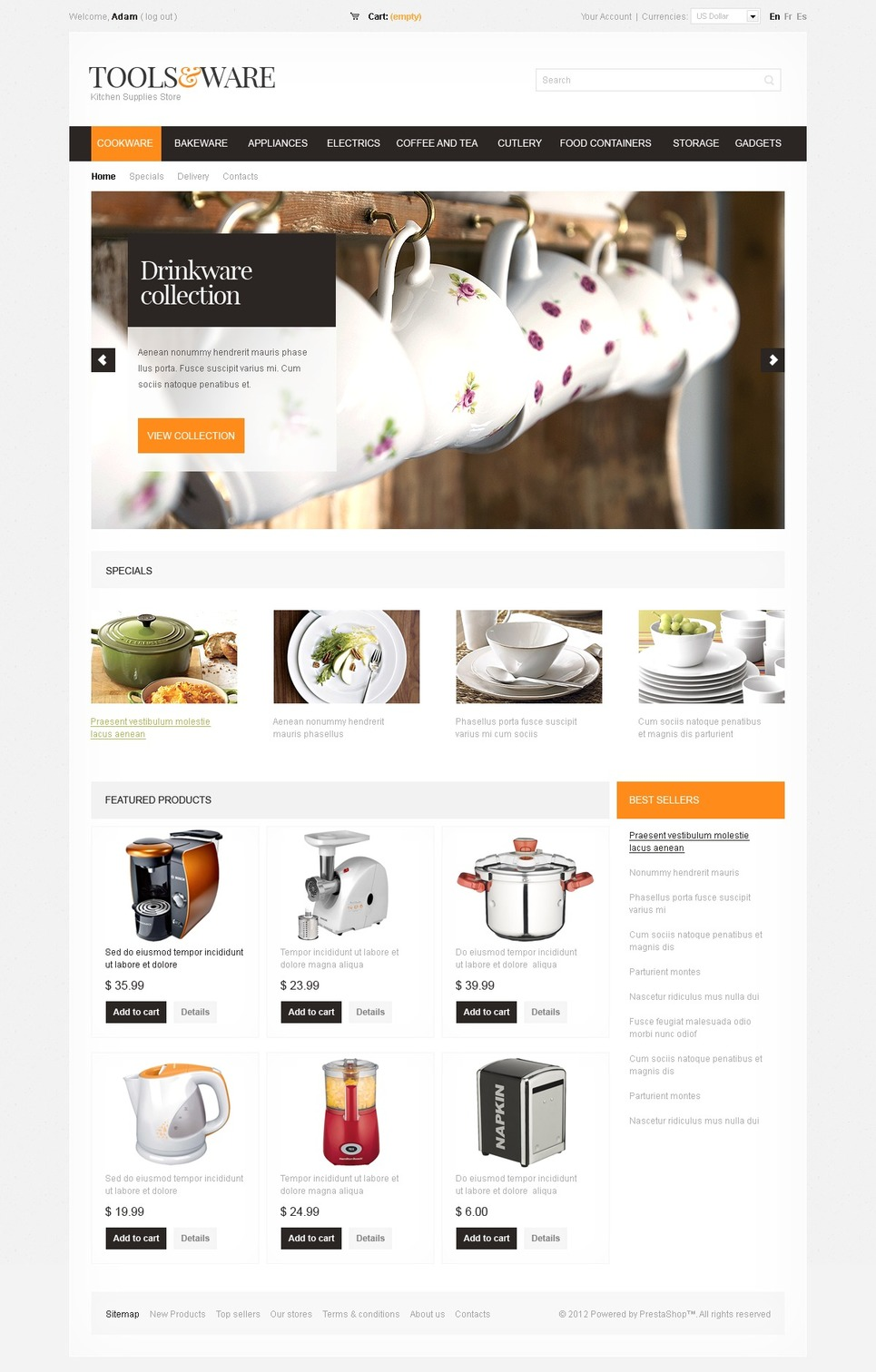 Perfect Kitchen Supplies PrestaShop Theme
