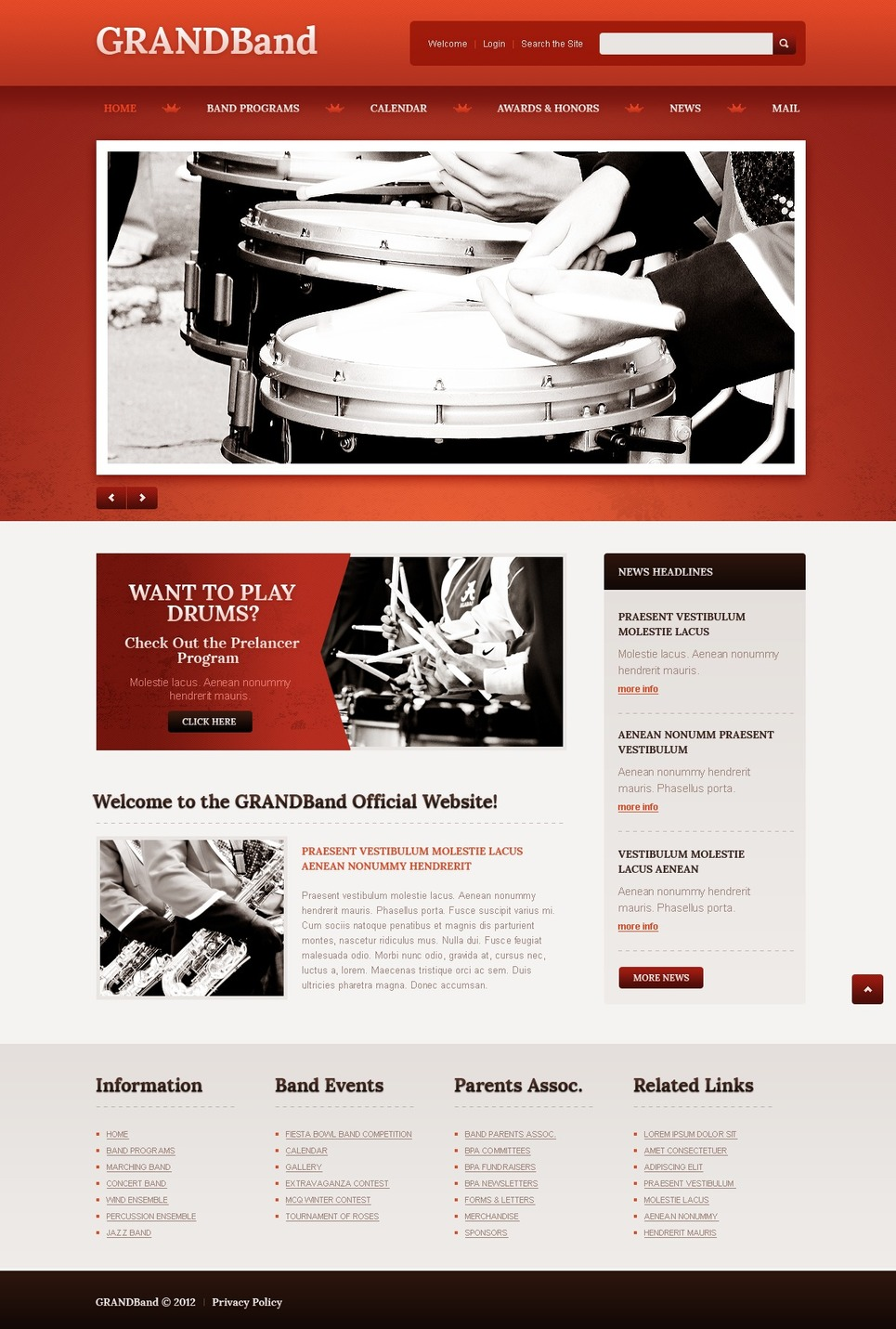 music band responsive website template web design templates website templates download music. Black Bedroom Furniture Sets. Home Design Ideas