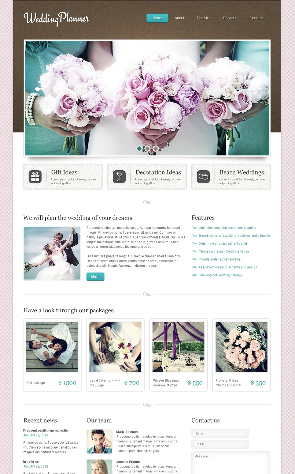 Wedding Planner Template with Pink Background and jQuery Image Slider - image