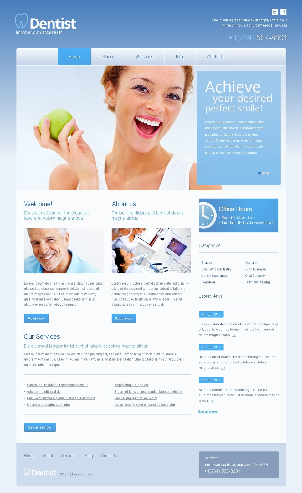 Dentist Website Template with jQuery Content Slider - image