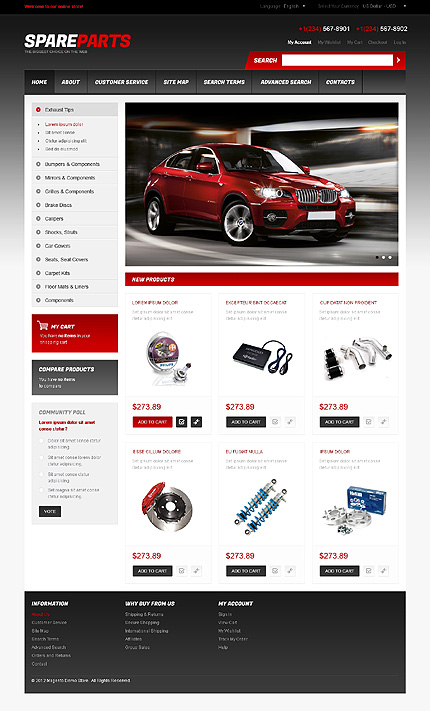 Spare parts - Best Quality Online Car Store Magento Theme