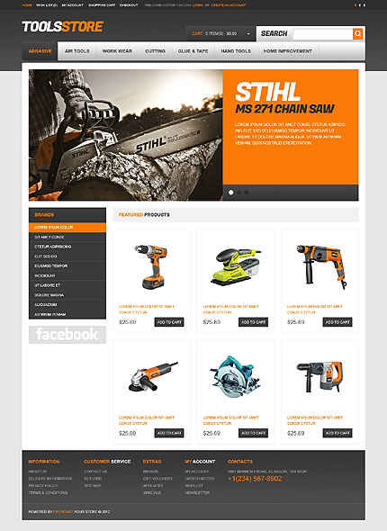 Working tools opencart template #40566