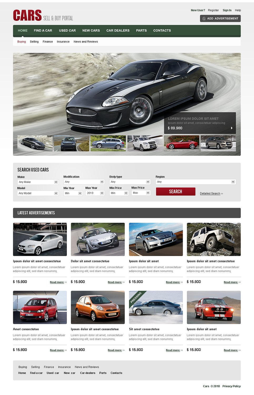 Flash Template For Auto Selling Portals - image