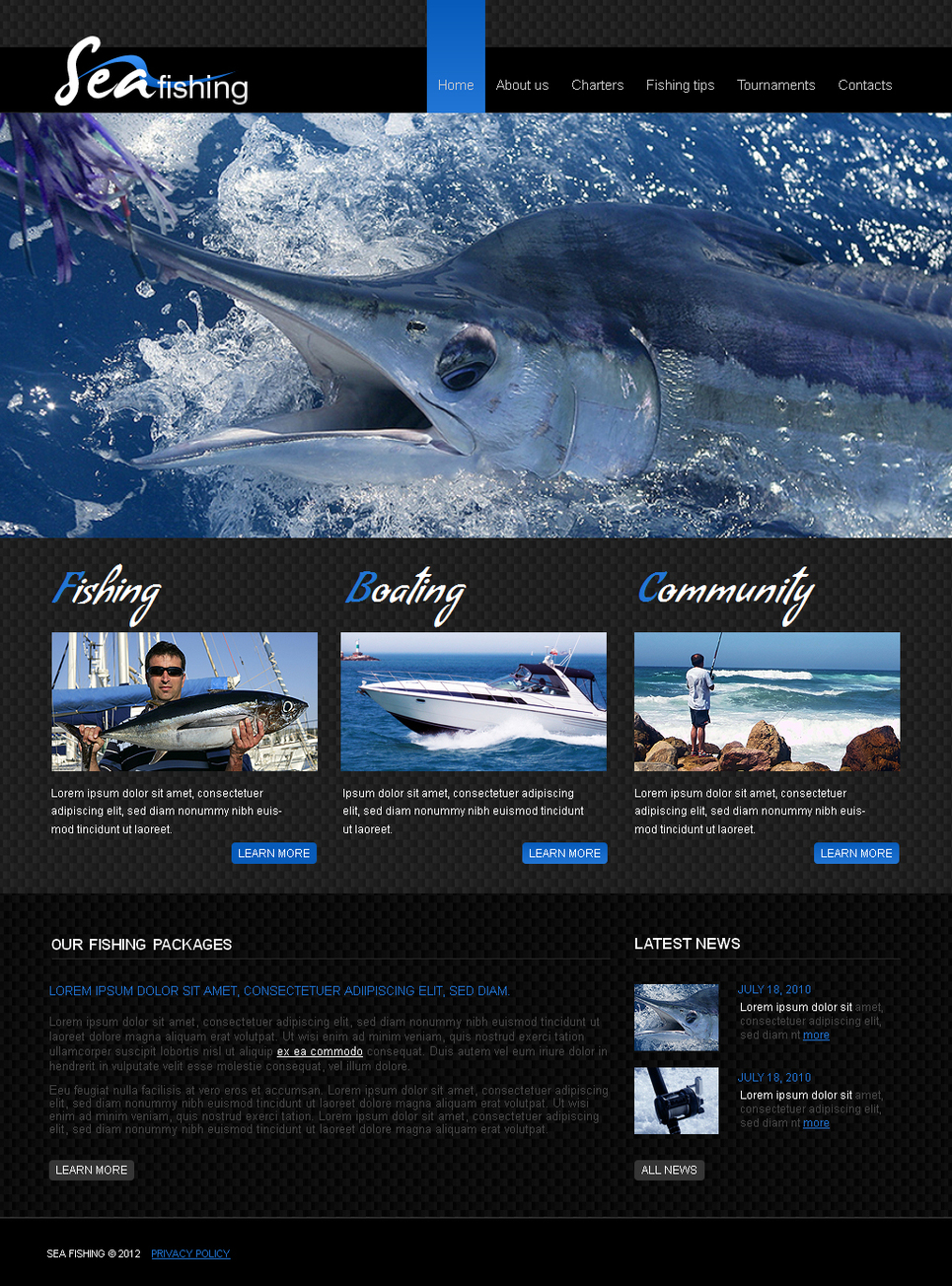 Fishing Website Template with Black Background - image
