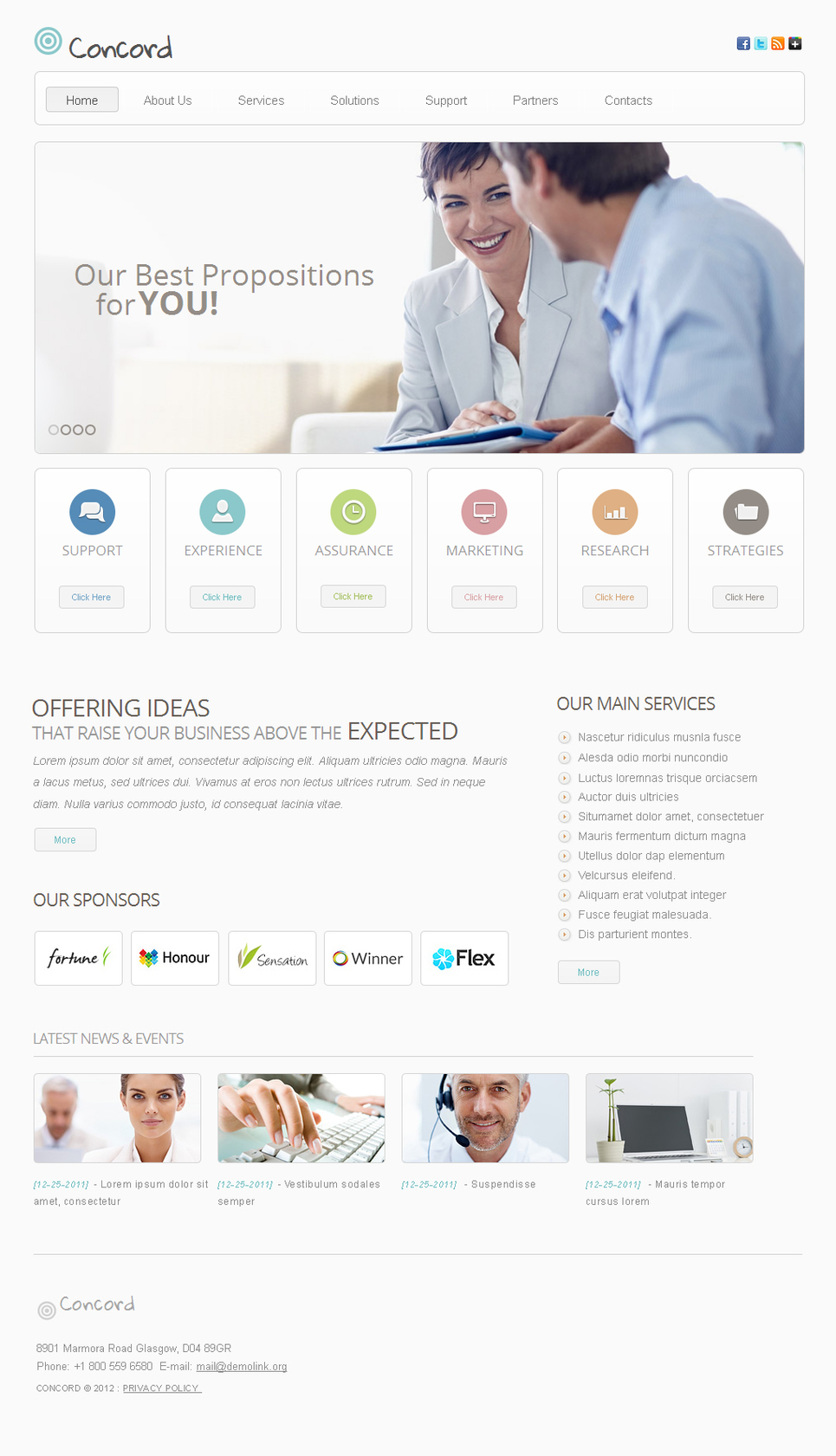 Clean Style Business Template with White Space and jQuery Slider - image
