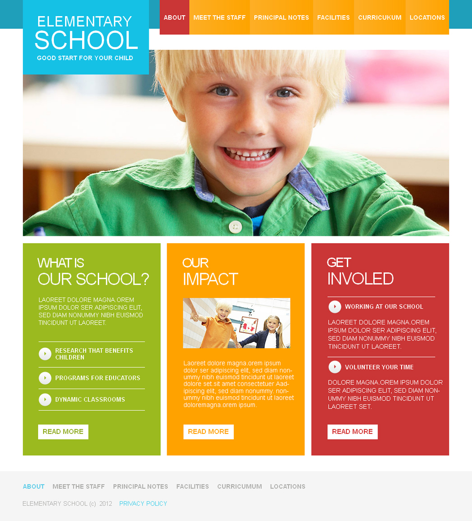 Elementary School Website Template with Bright Colors Combination - image