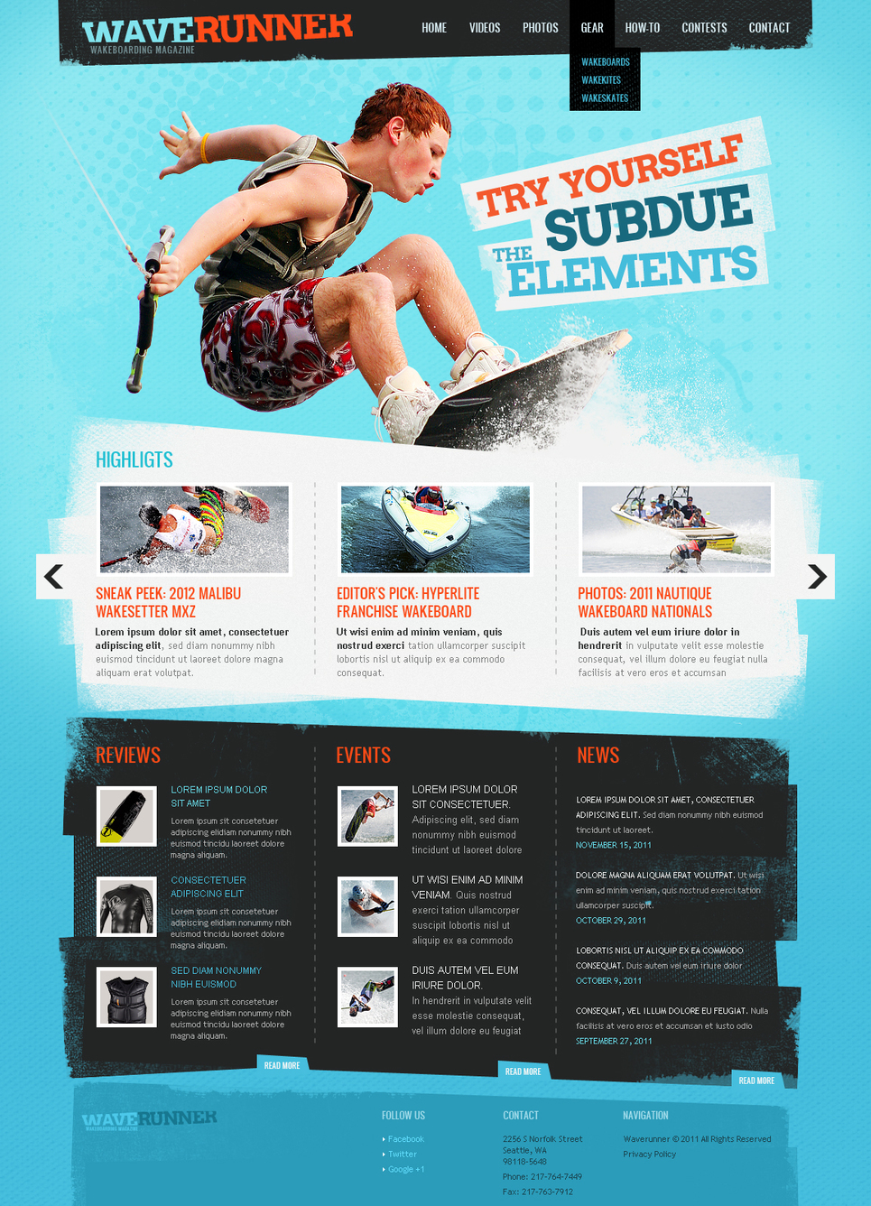 Surfing Web Template for Wakeboarding Sportsmen - image