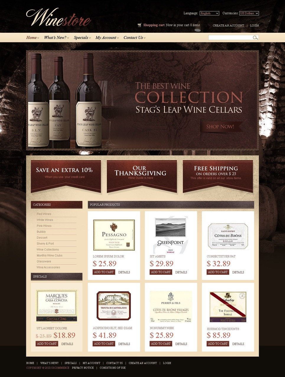 Winery OsCommerce Template New Screenshots BIG