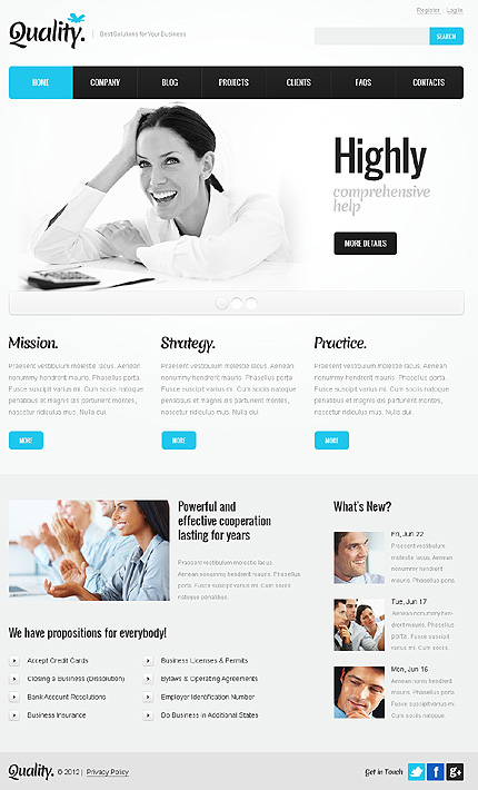 View LiveDemo for Quality - Premium Responsive WordPress Theme for Corporate Companies