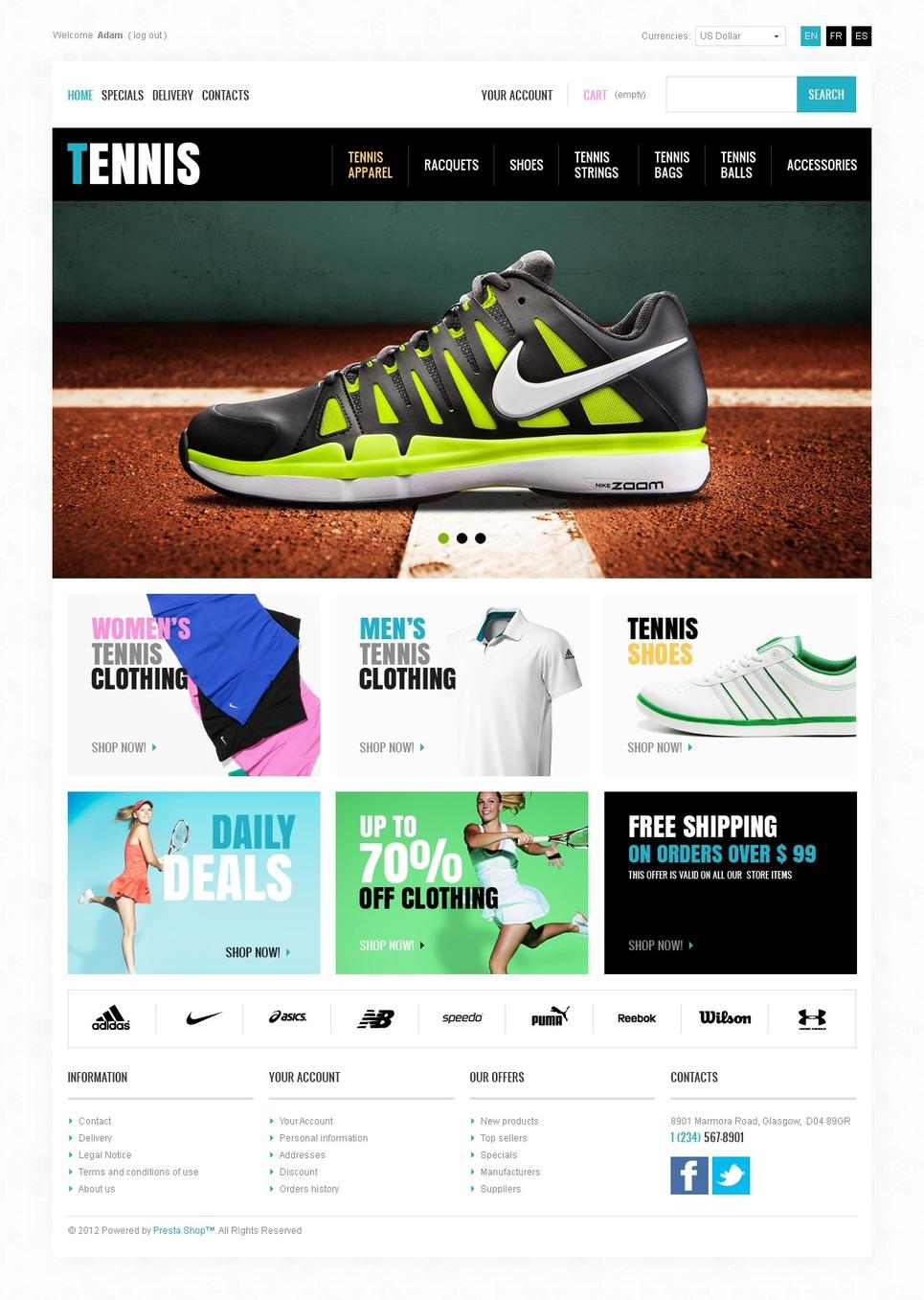 Ultimate Tennis Store PrestaShop Theme