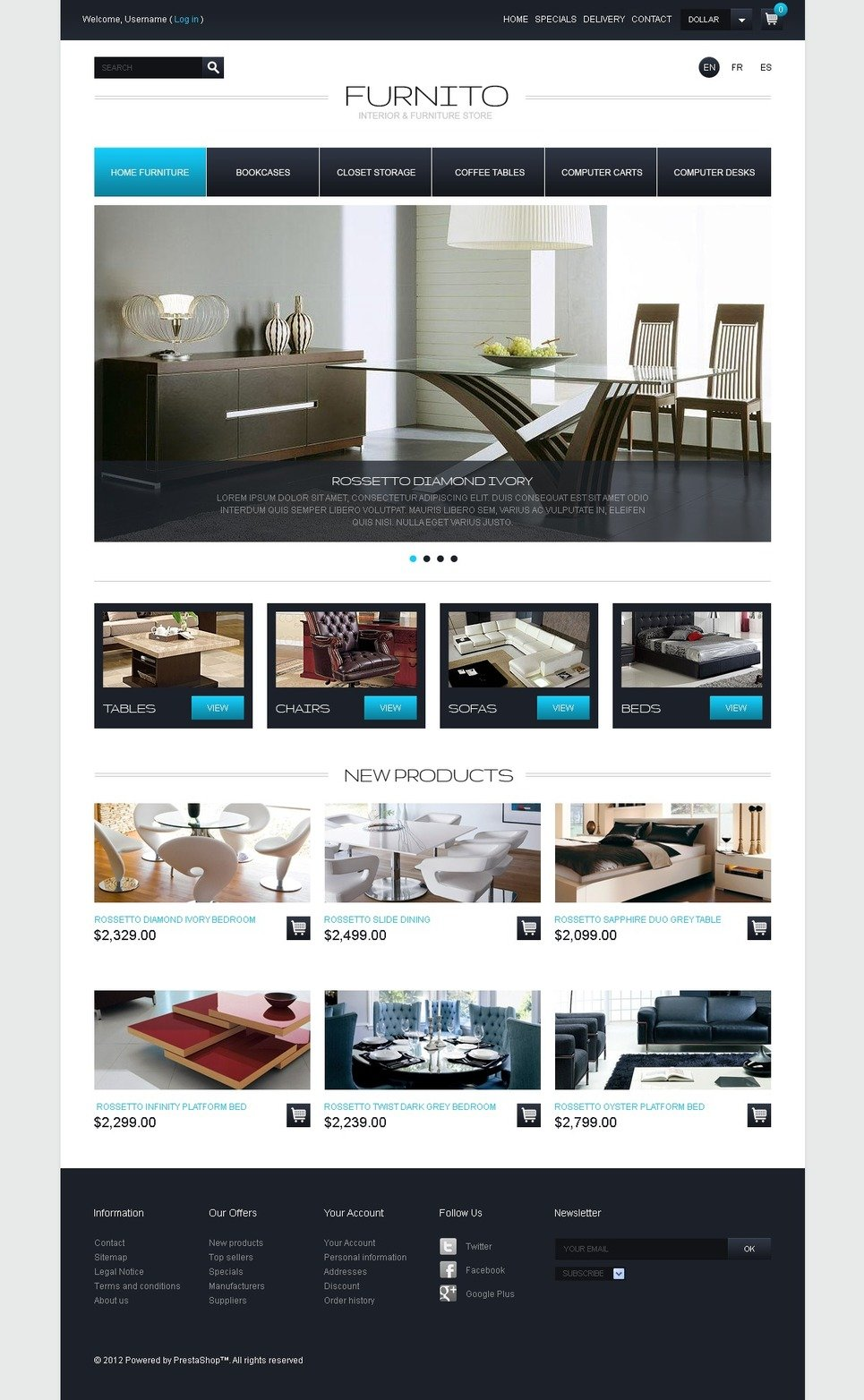 Stylish Interior & Furniture PrestaShop Theme