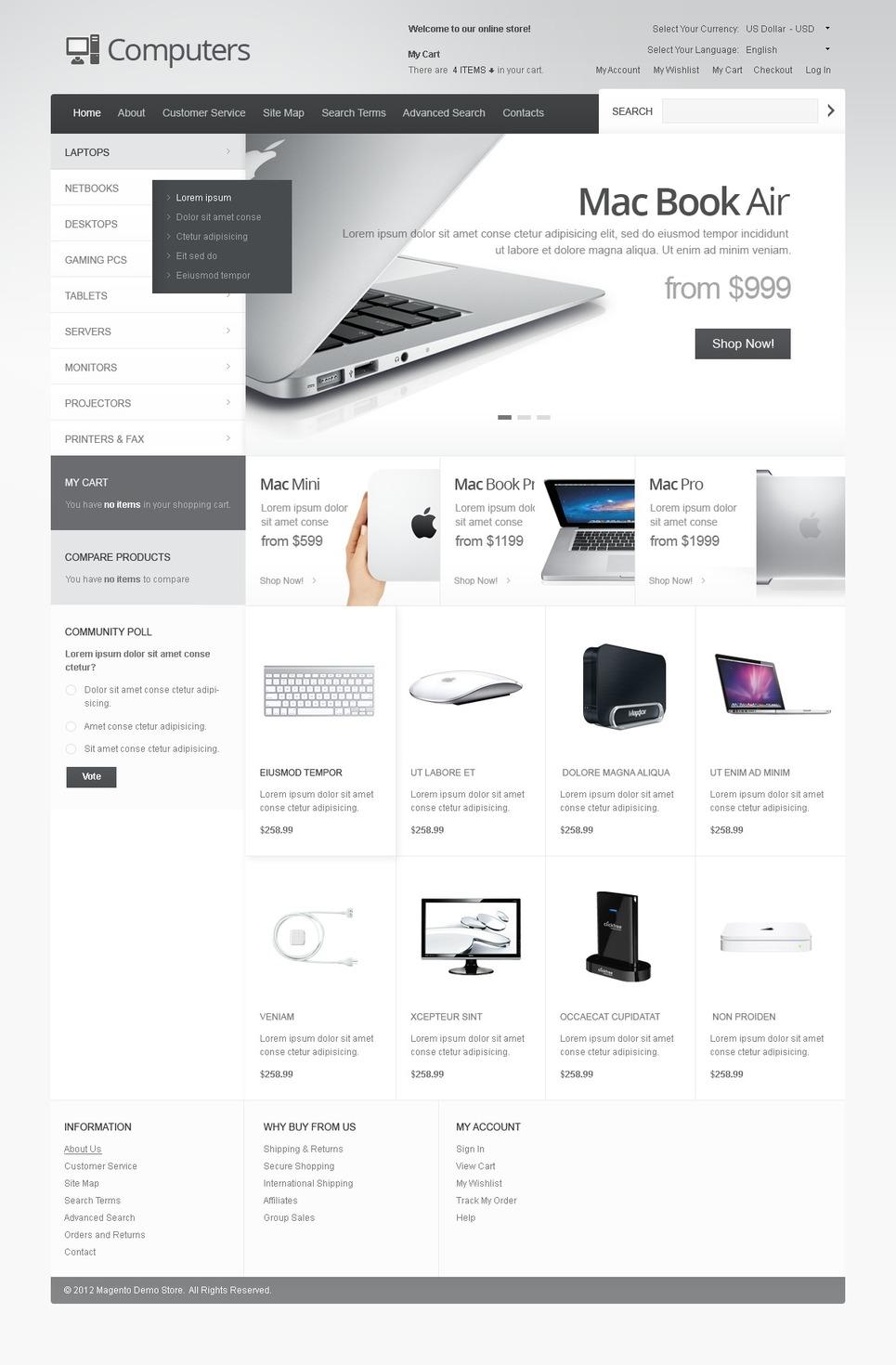 Desktop and Portable Computers Magento Theme New Screenshots BIG