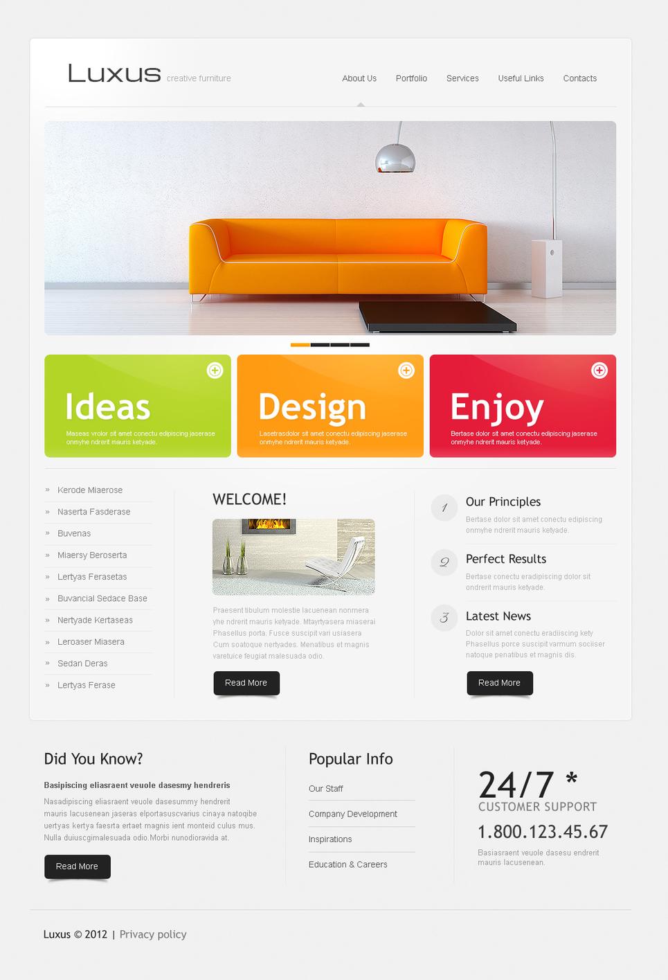 Interior Design Website Template with Colorful Bricks - image
