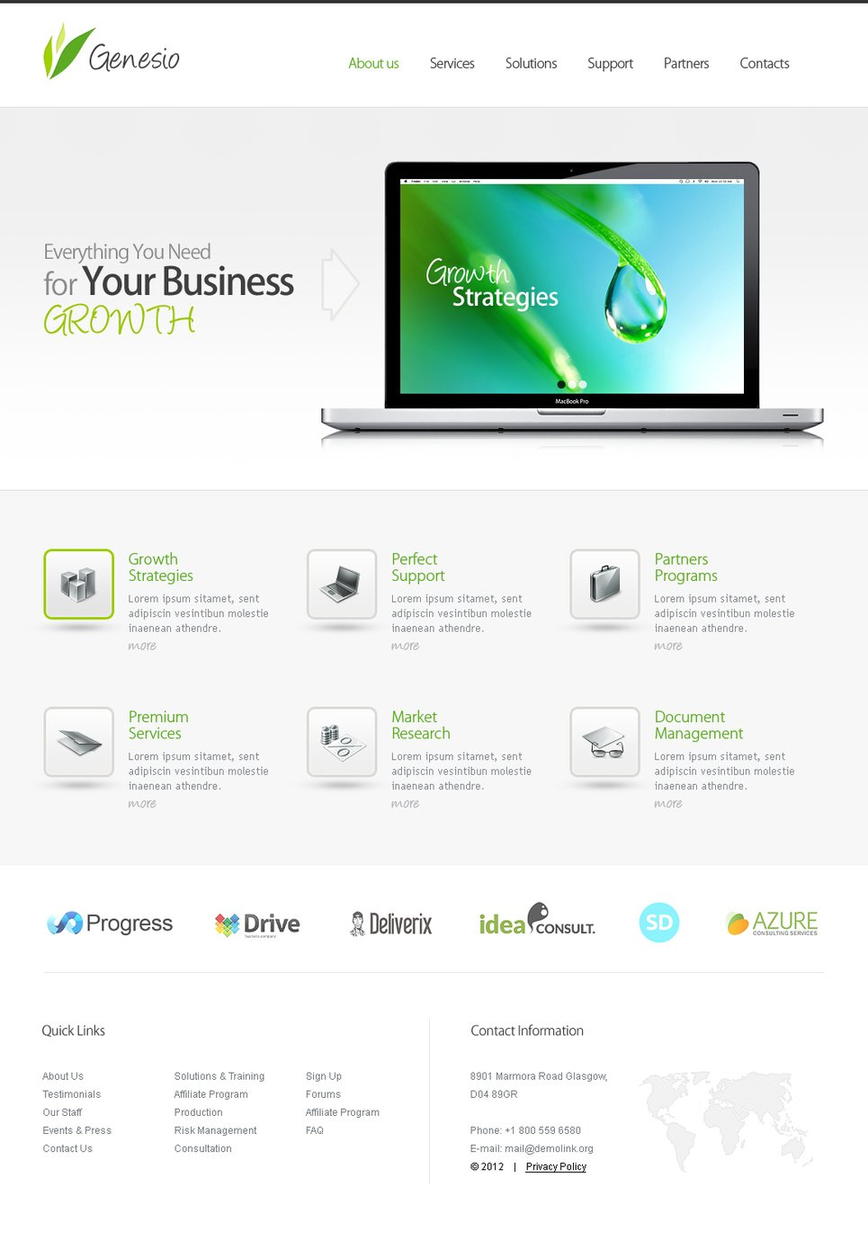 Clean Business Template with Image Slider - image