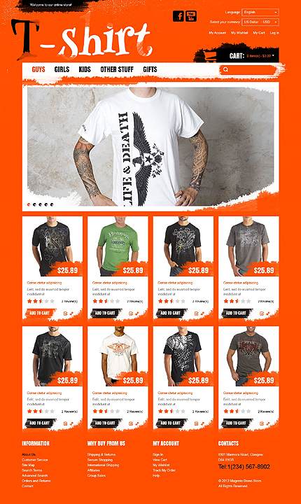 T- shirts - Lovely T-shirt Store Magento Theme