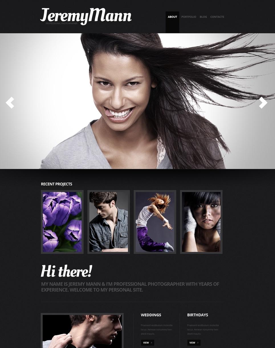 Photographer's Portfolio Website Template with Black Design - image