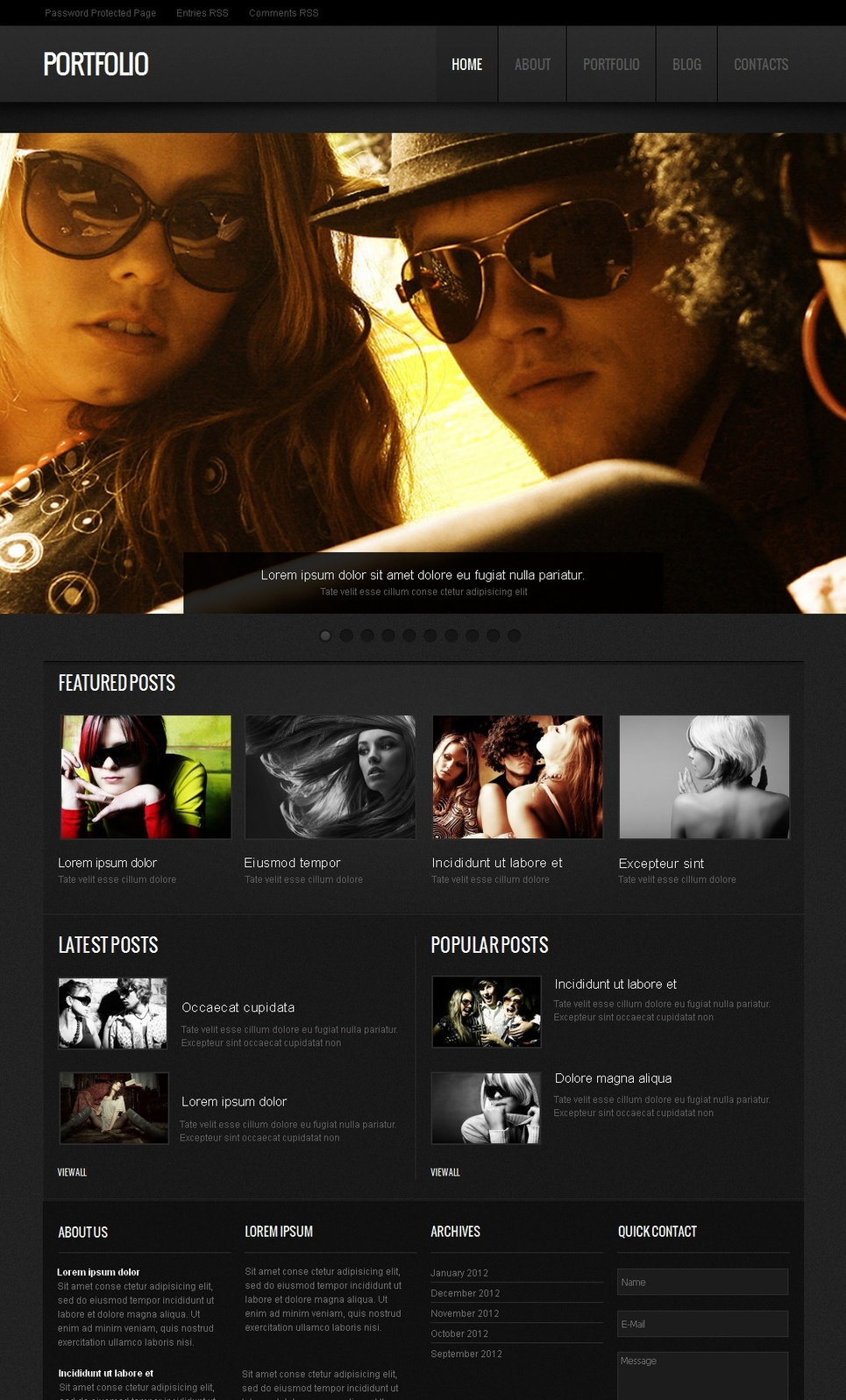 Portfolio Website Template with Retro Looking Photo Slider - image