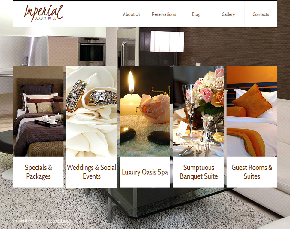 Hotels Website Template with Illustrated Menu and Photo Background - image