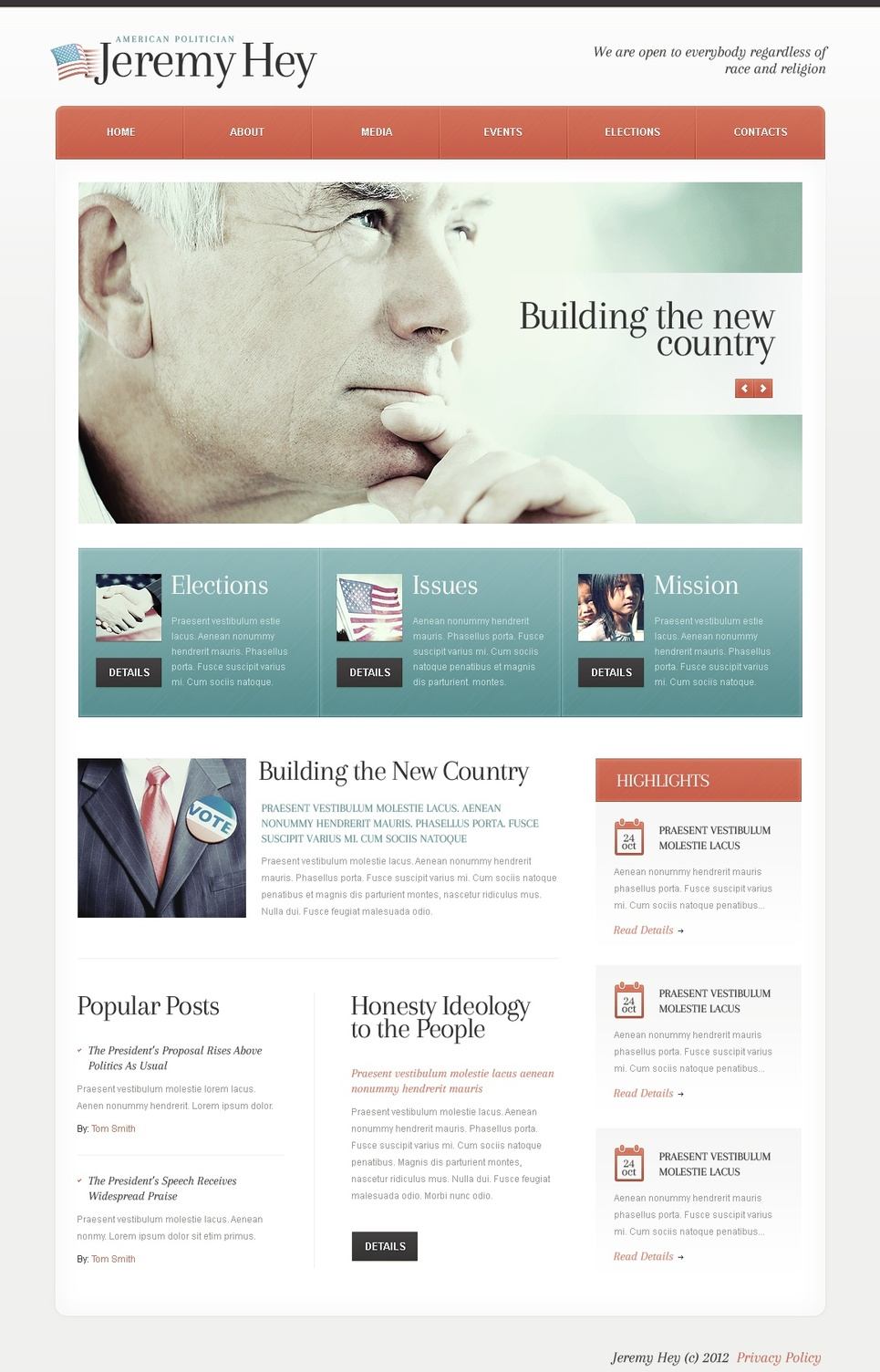 Political Candidate Website Template - image