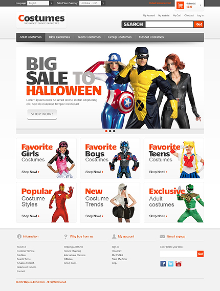 Costumes - Best Magento Holiday Theme