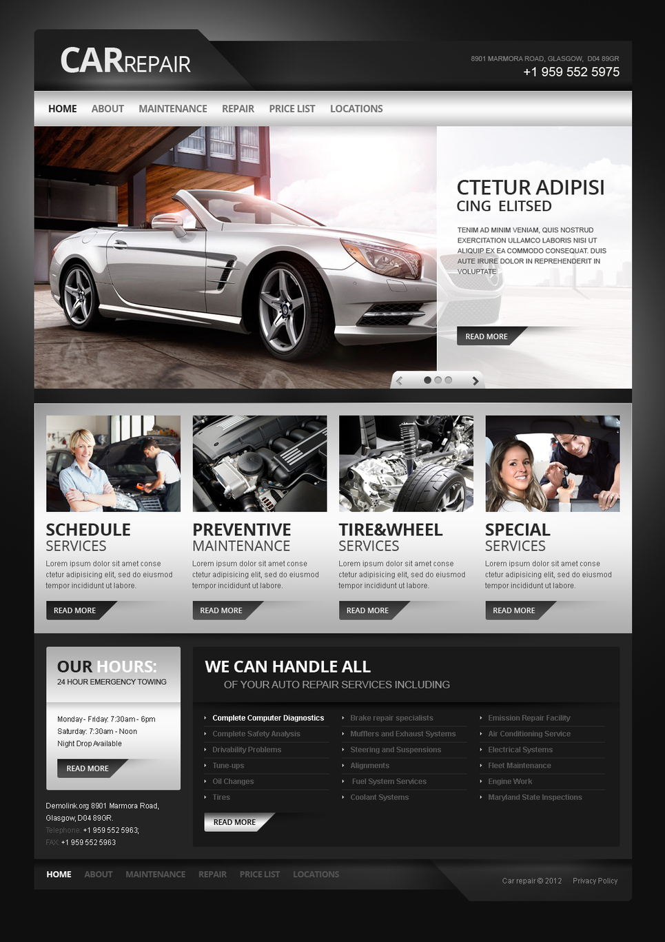 Car Repair Template with jQuery Image Slider and Dark Background - image