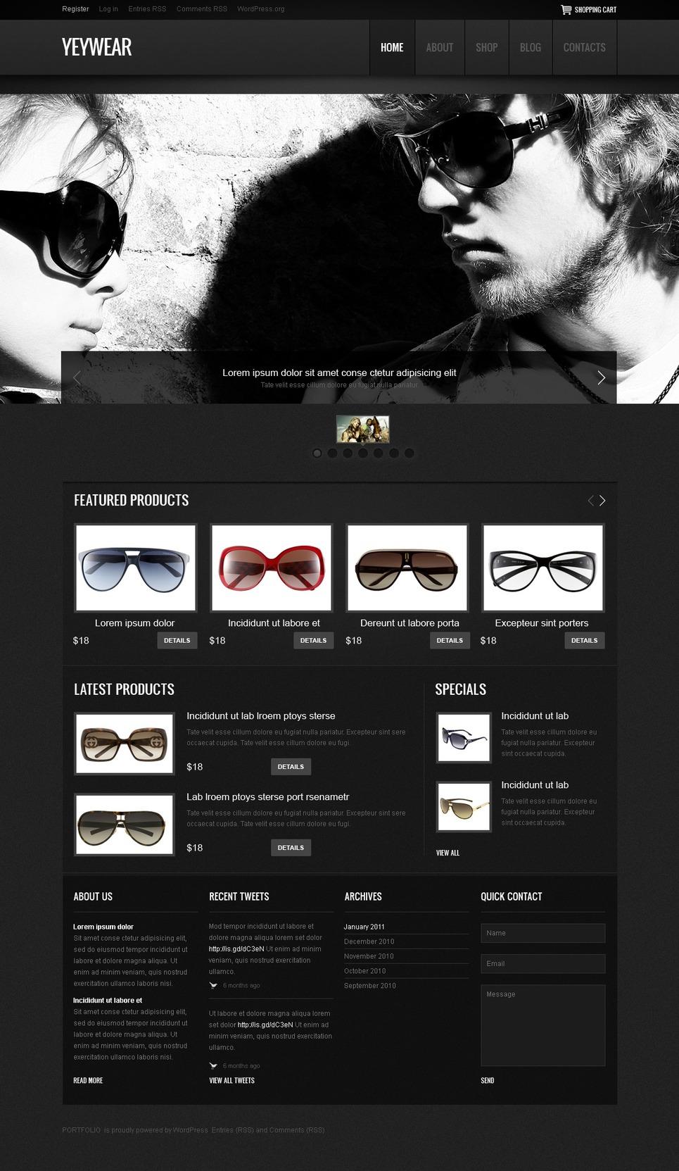 YeyWear - Best Eyewear Jigoshop Theme