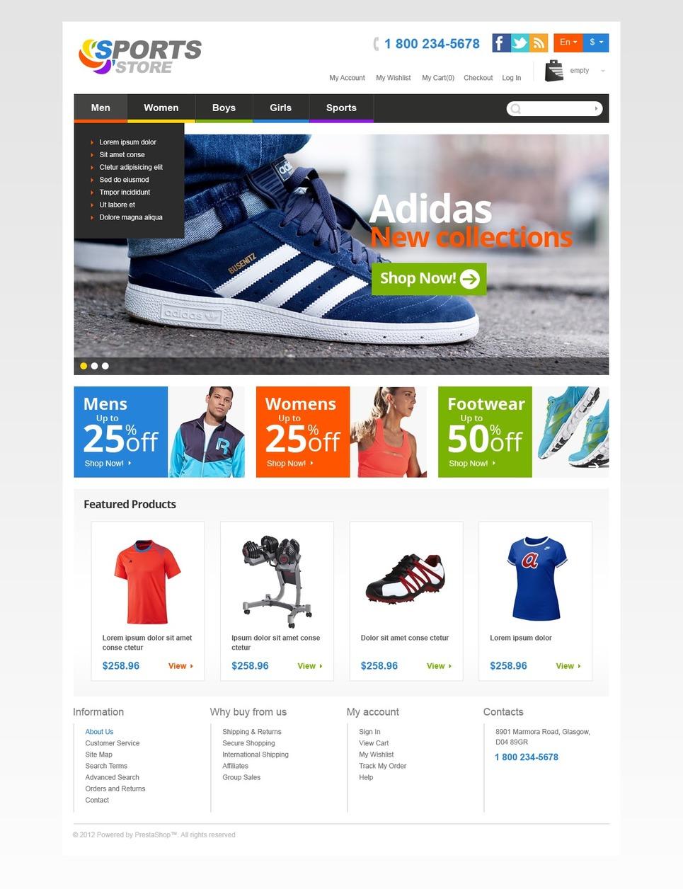 Sports Store - Excellent Responsive PrestaShop Theme