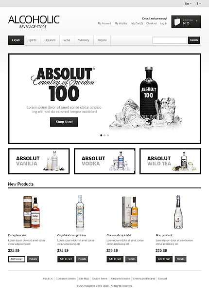 Alcoholic beverage store - Exclusive Magento Drink Store Theme