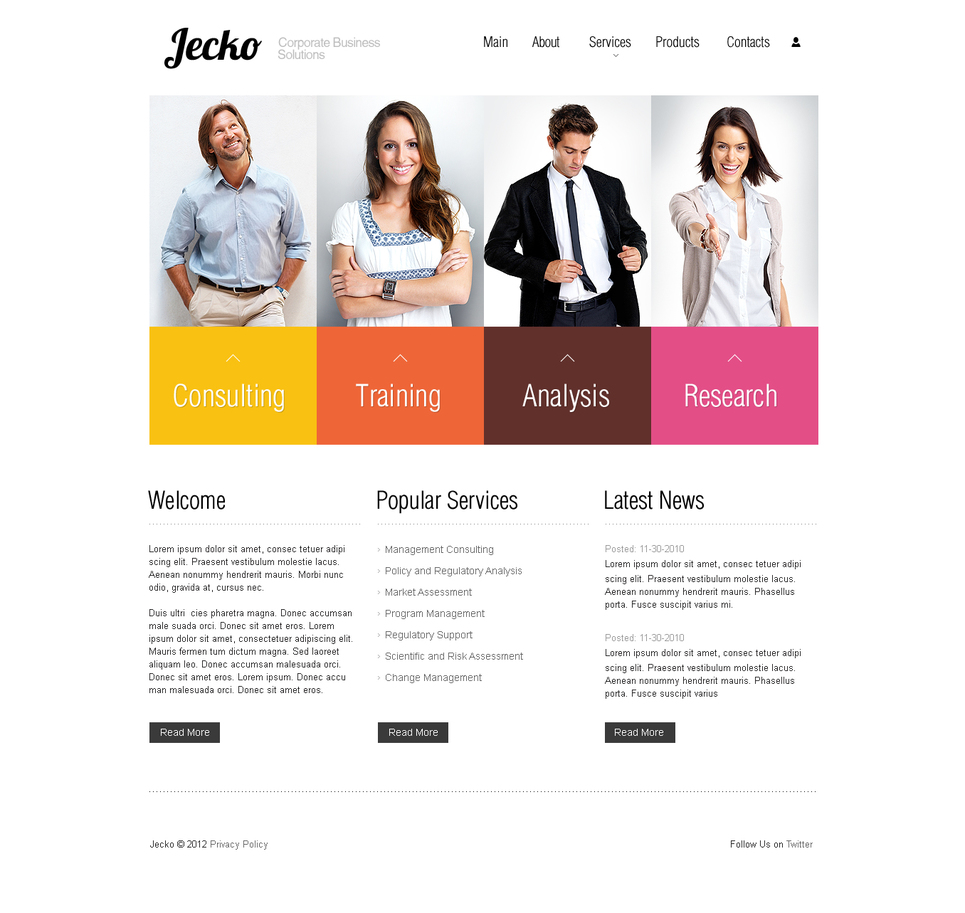 White Business Website Template with Colorful Boxes - image