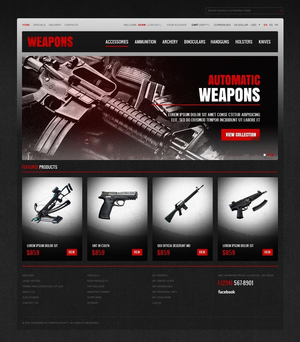 Elegant Weapons Stores Prestashop Theme