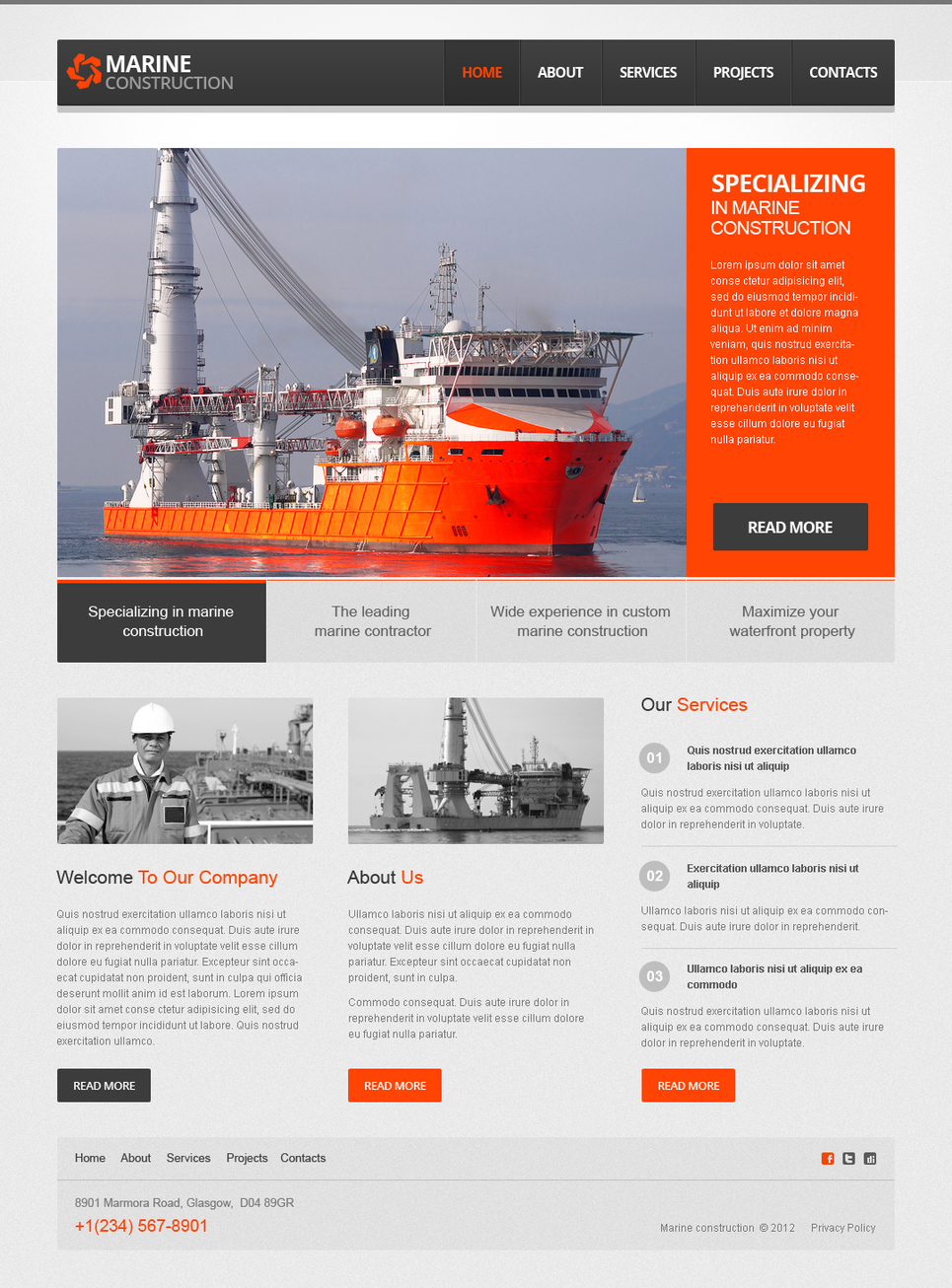 Marine Construction Website Template with Orange Design Elements - image