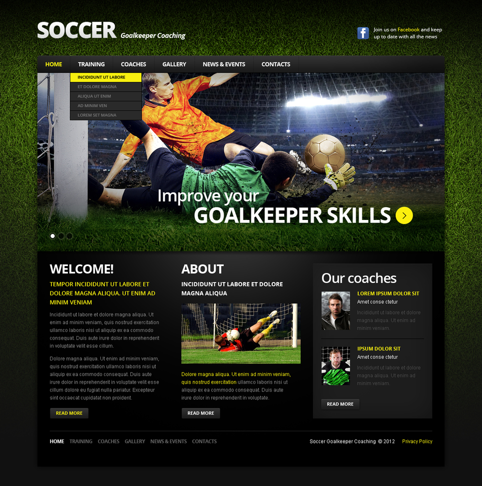 Soccer Trainings Flash CMS Template - image