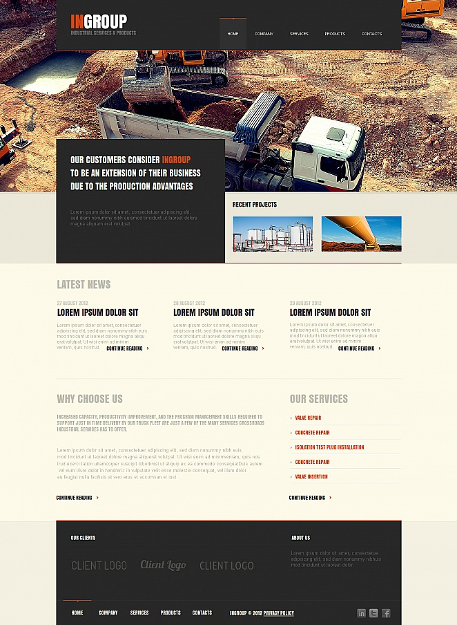 Industrial Company Website Template with a Large jQuery Slider - image