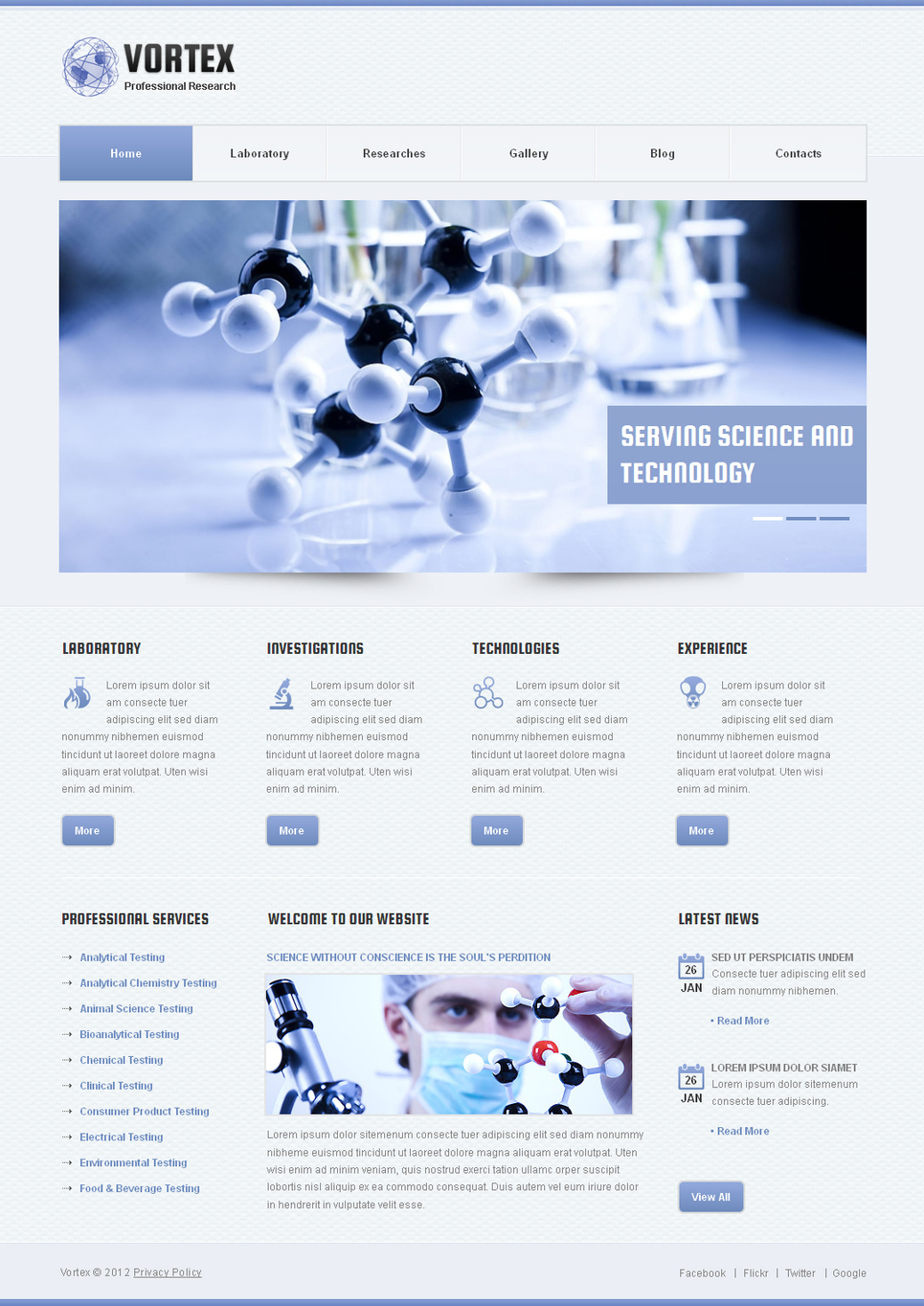 Science Website Template with Plain Design - image