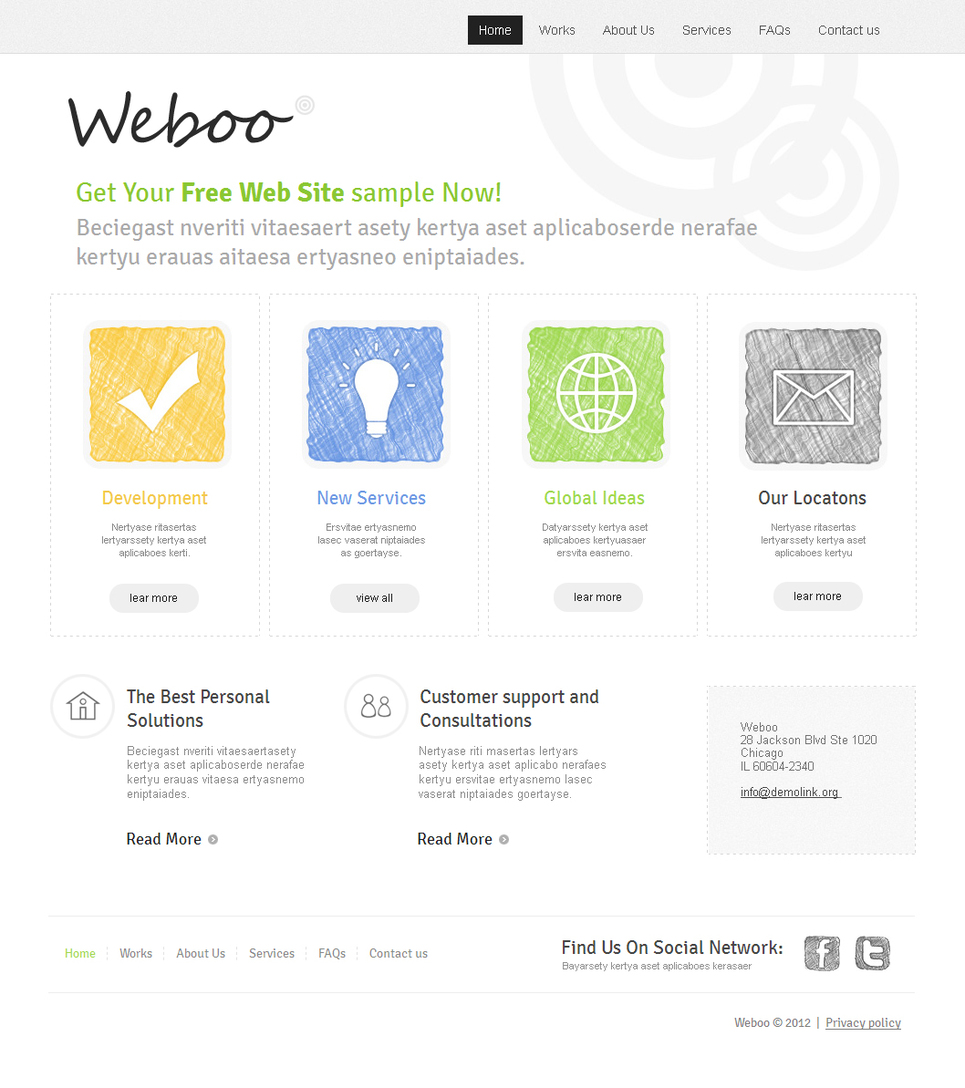 Web Design Company Template with Hand Drawn Icons - image