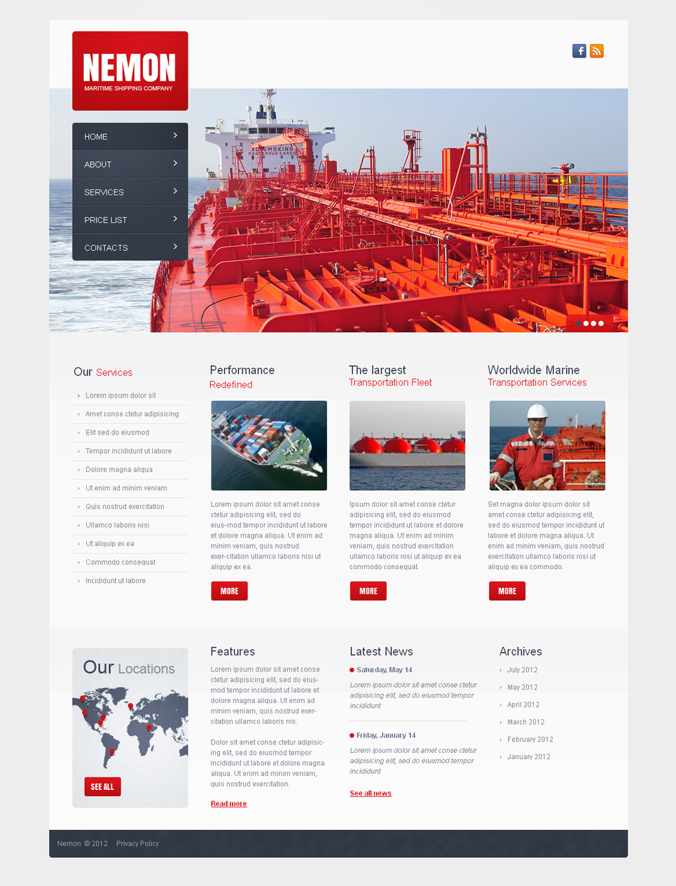 White Website Template for Marine Shipping Company - image