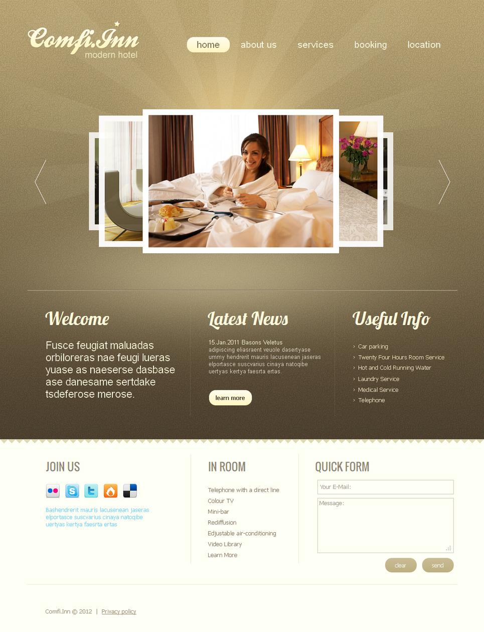 Light Brown Website Template for Hotels - image