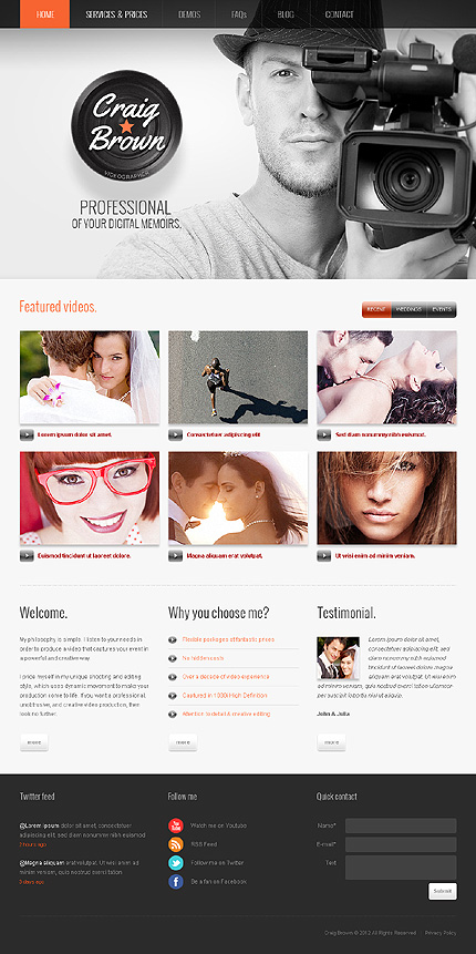 Craig brown - Best Photographer Portfolio WordPress Theme