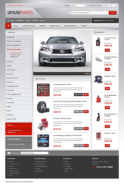 Best Vehicle Stores and accessories stores Magento Themes Set1
