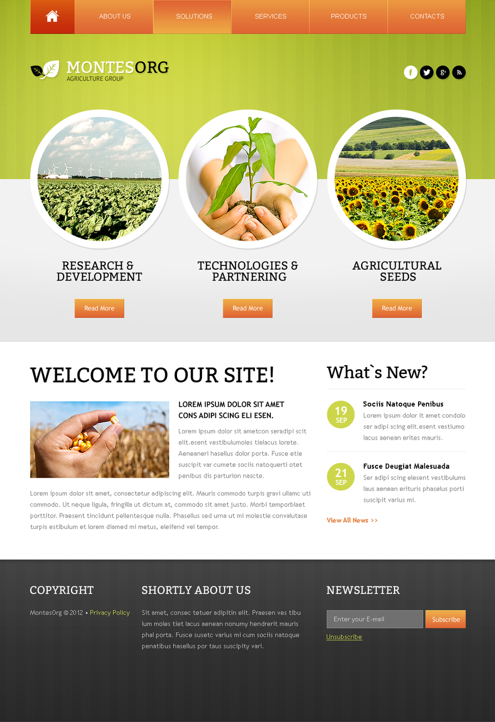 Agriculture Website Template with a Lovely Green Header - image